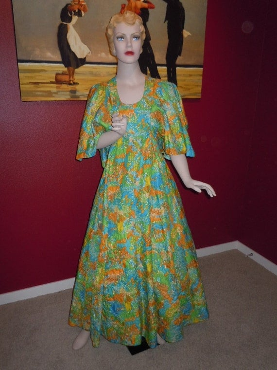 """SALE* Vintage 70's Maxi Long Dress Unique Embossed Fabric  """"Spring Colors Blue-Greens"""" - Bell Sleeves Bust 34"""""""