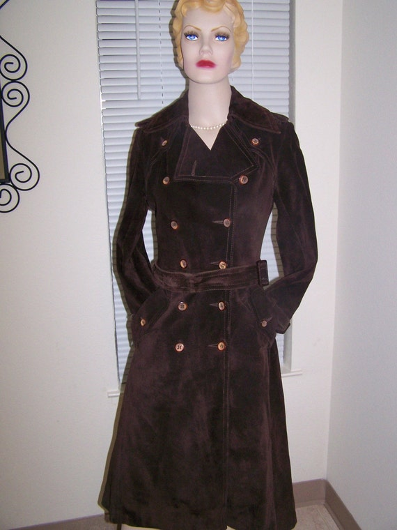 Vintage Ann Taylor 70s Brown Suede Trench Coat Spy Girl