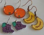 Fruity shrink plastic earrings, one pair