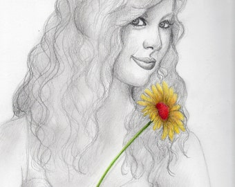 Taylor, original pencil and colored pencil drawing
