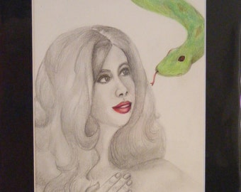 Eden and the serpent, original pencil and colored pencil drawing