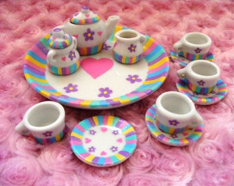 Hand painted pastel tiny tea set