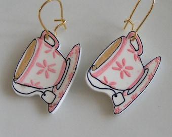 Teacup shrink plastic earrings