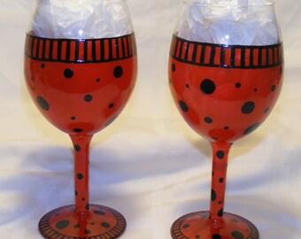 Ladybug hand painted wine glasses