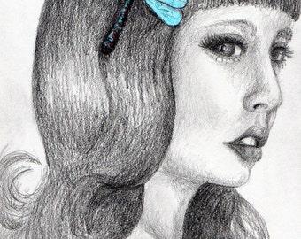 Girl with a Dragonfly--original pencil drawing with colored pencil
