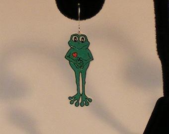 Lovey Frogs plastic earrings