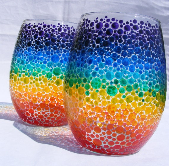 Rainbow bubbles hand painted wine glasses or candle holders, one pair