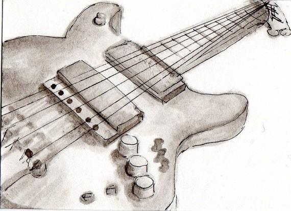 Electric guitaroriginal pen and ink drawing