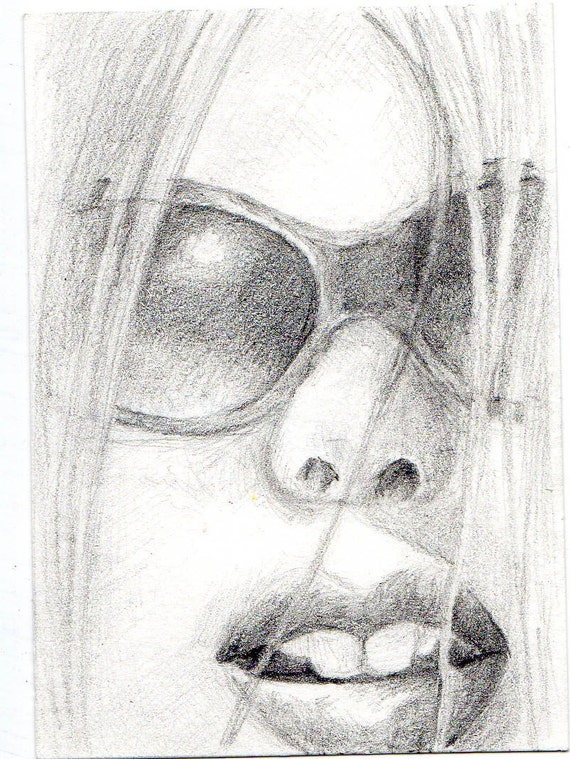 Girl in Sunglasses--original pencil drawing