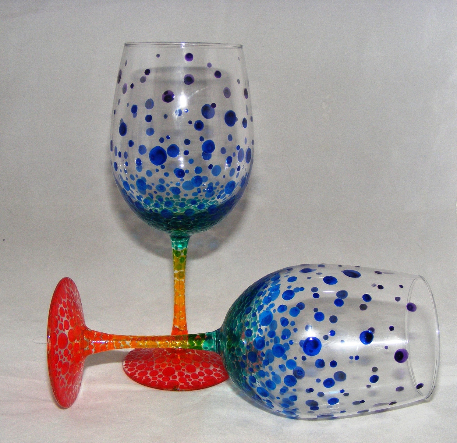 Rainbow bubbles hand painted wine glasses one pair Images of painted wine glasses