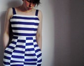 white and blue striped DRESS // size xs, s, m, l
