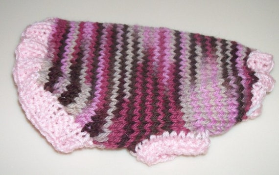 XX-Small Hand Knit Chocolate Cherry Chip Wool Dog Sweater Chihuahua poodle