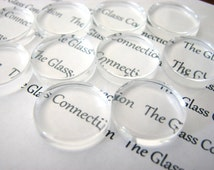 10 PREMIUM Clear Flat Glass Circles Small 18mm Cabochons Game Gems