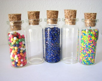 SALE  36 Pack Empty Clear Large Glass Vials 10ml  Bottle with Cork 2 1/8 inch Tiny Bead Bottles