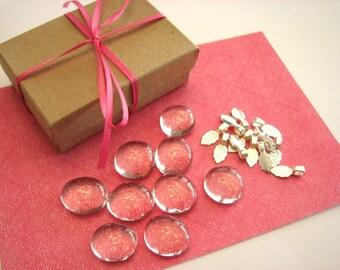 10 Glass Bubbles Pendant Necklace Kit  10 Cabochons .....  10 Small Aanraku Silver Bails