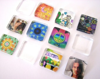 15mm Glass Tiles Squares  3/5 inch  20 CRYSTAL CLEAR Textured Wine Charms Pendants Ring Cabochons