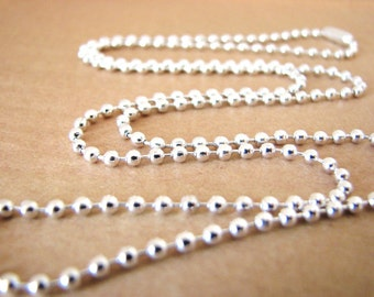 50 Shiny Silver Plated Ball Chains 24 inches Necklaces 2.4mm