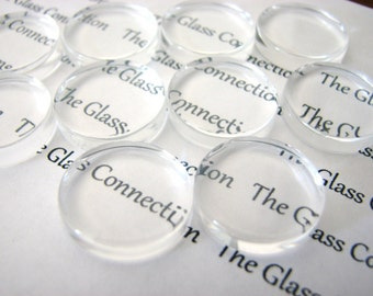 20  CLEAR FLAT Glass Circles Small 16mm Cabochons Game Gems Pieces Charms Cabs Pendants Making Tiles