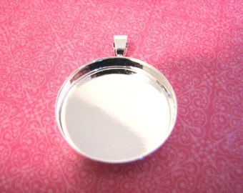 5 DEEP 25mm Bezels  Pendant Circles Round SHINY Silver Plated 4mm deep