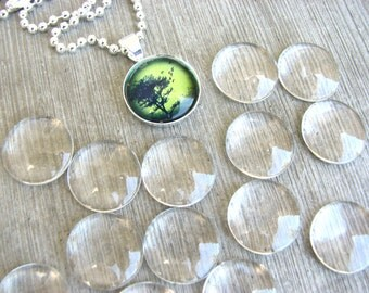Glass Domes 20 Clear 16mm  Cabochons Circles 16 mm Pendants Supplies Cabs