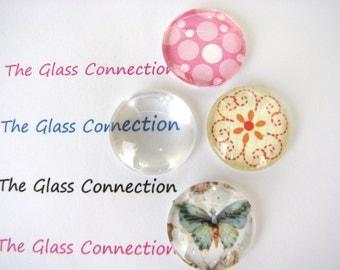 20mm Glass Domes Clear Cabochons 10 Pieces 2cm Pendants Blanks Tiles Flat Back Transparent