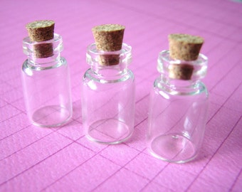 200 Glass Vials Bottles Small Jars  13 x 23mm with Corks Miniature