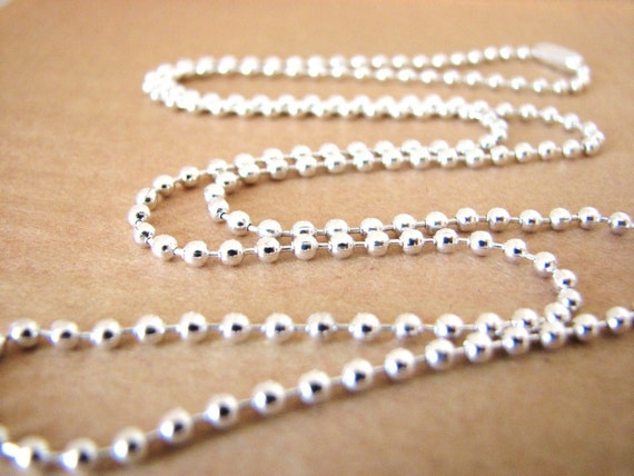 10 Shiny Silver Plated Ball Chains 24 inches Necklaces 2.4mm