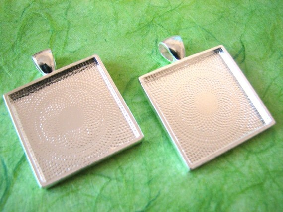 10  Square Pendants Trays Bezels 1 inch  Silver  25 mm   STURDY Settings