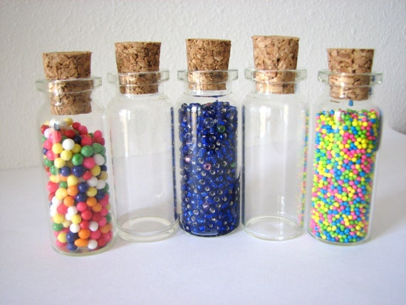 SALE  24 Pack Empty Clear Large Glass Vials 10ml  Bottle with Cork 2 1\/8 inch Tiny Bead Bottles