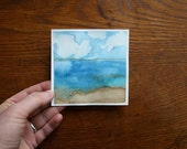 Day at the Beach - original petite painting - 4 X 4 inches