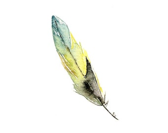 Feather, print of watercolor painting, Green and Yellow, 4 X 4 or 4 x 6 inches