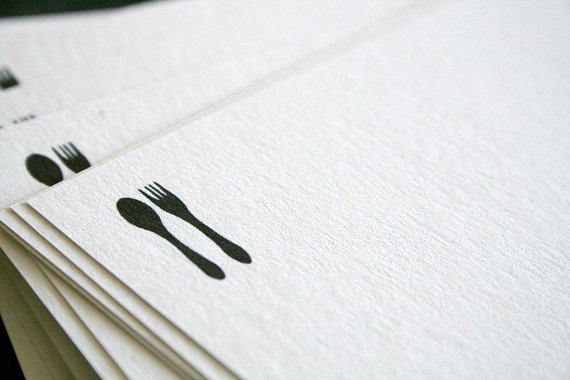 SPOON AND FORK Recipe Cards - Blank Style, Post-Consumer Recycled,