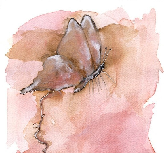 Butterfly Painting - Archival print of Watercolor - Pink, blush, light brown