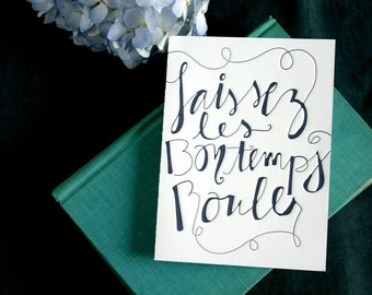 Let the Good Times Roll - navy letterpress card
