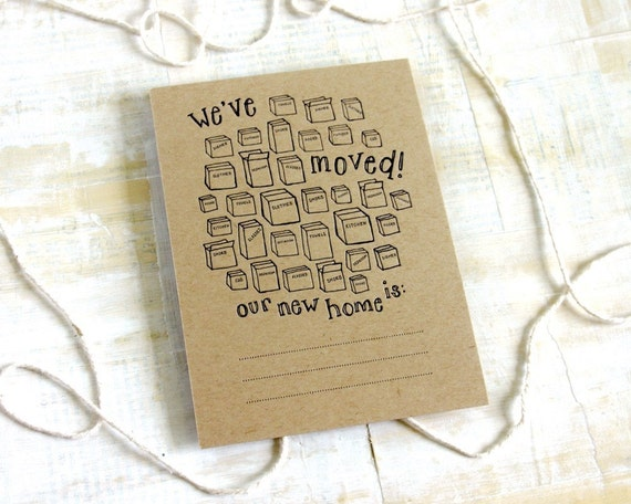 We've Moved letterpress new address announcements