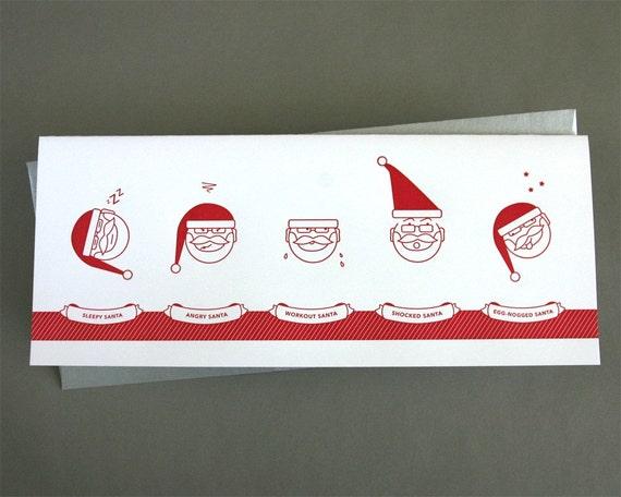 Happy Santa Holiday - single letterpress card