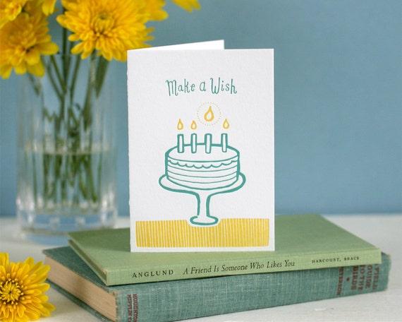 Make a Wish birthday - letterpress card