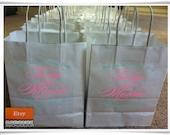 "Custom order for Monae Owens Custom Designed and Printed White Wedding Welcome Bags or Wedding Favor Bag 8"" x 10"""