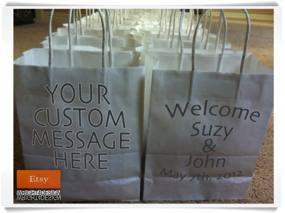 "Custom Designed and Printed White Wedding Welcome Bags or Wedding Favor Bag 8"" x 10"""