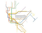 Massimo Vignelli's 1972 New York City Subway Map - (Line Art) - 8x8 Print