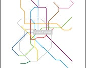 Madrid Subway Map ( LINE ART ) - 8.5 x 11 PRINT