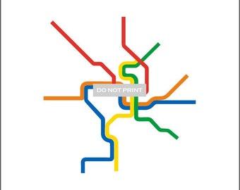Washington D.C. Metro Subway Map ( LINE ART ) - 8.5 x 11 Print