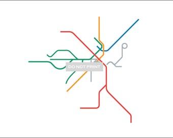 Boston Metro Subway Map ( LINE ART ) - 16 x 20 Print