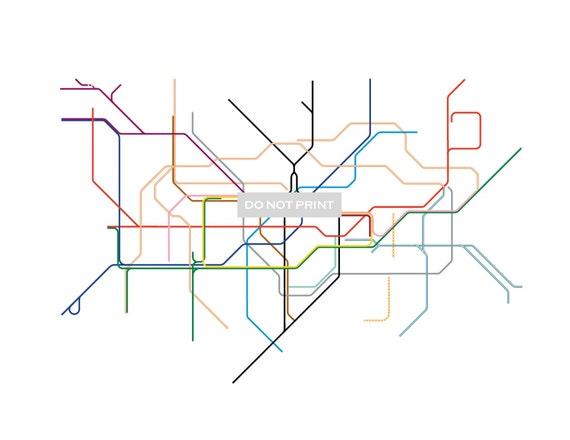 London Subway Map ( LINE ART ) - 16 x 20 PRINT