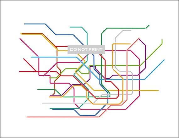 Tokyo Subway Map ( LINE ART ) - 8.5 x 11 PRINT