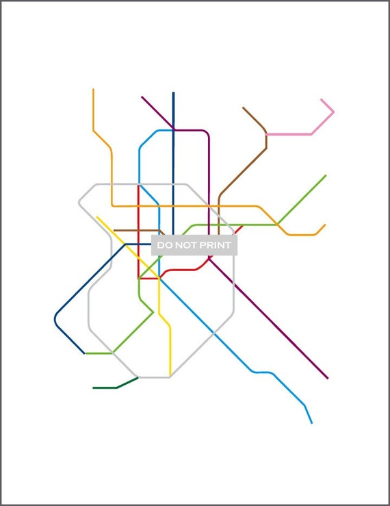 Line Art Map : Items similar to madrid subway map line art