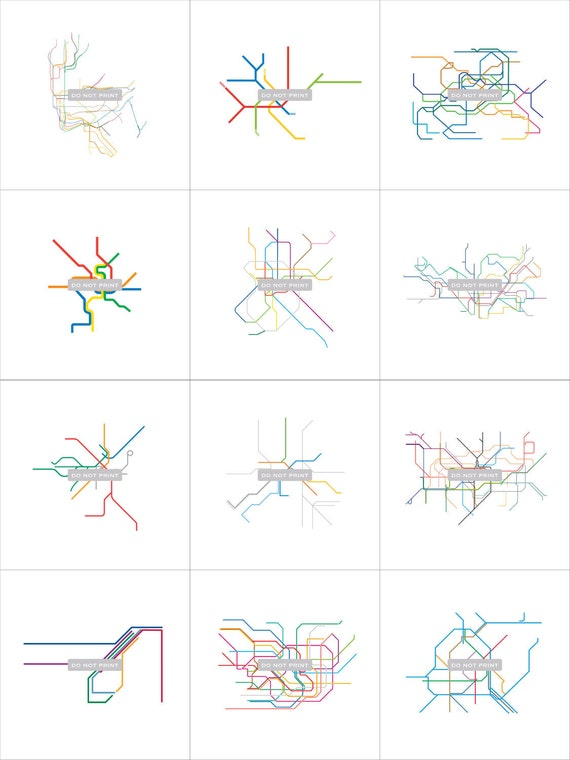 "Subway Maps Line Art - ( 12 print collection series ) - 12""x12"""