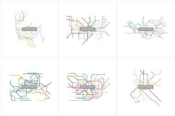 "Subway Maps Line Art - ( 6 print collection series ) - 12""x12"""