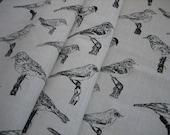 Hand screenprinted Bird fabric piece 50 cm x 150 cm