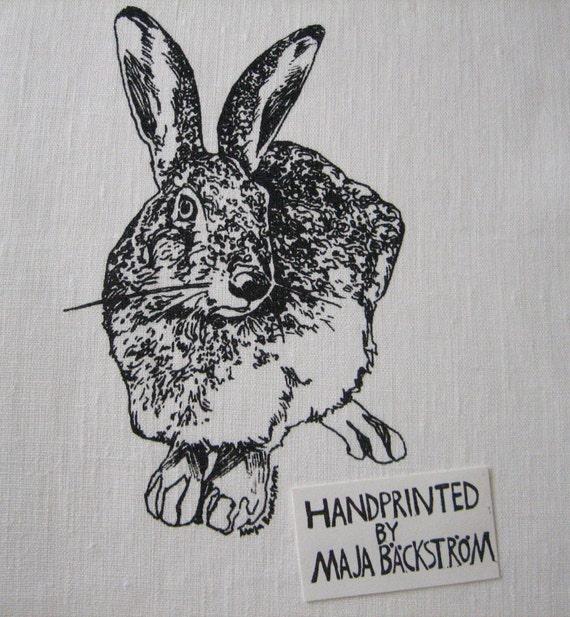 "Hand screenprinted fabric piece / 18x18"""